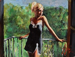 Sally in the Sun (Balcony) by Fabian Perez -  sized 16x12 inches. Available from Whitewall Galleries